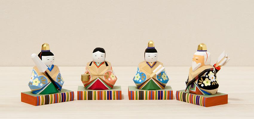 雛人形 春菜雛(小)お人形台
